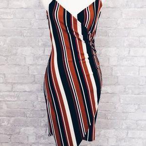 Dresses & Skirts - Asymmetrical brown stripped dress